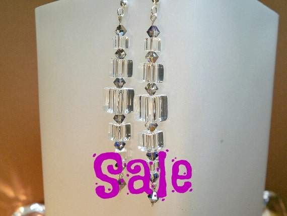 Sale Quartz Qube Pendulum Earrings with Heliotrope Crystals in Sterling Silver