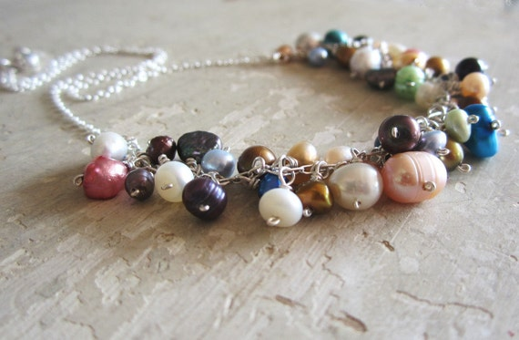 Assorted Freshwater Pearl Necklace - Sterling Silver Wire Wrapped Dangles
