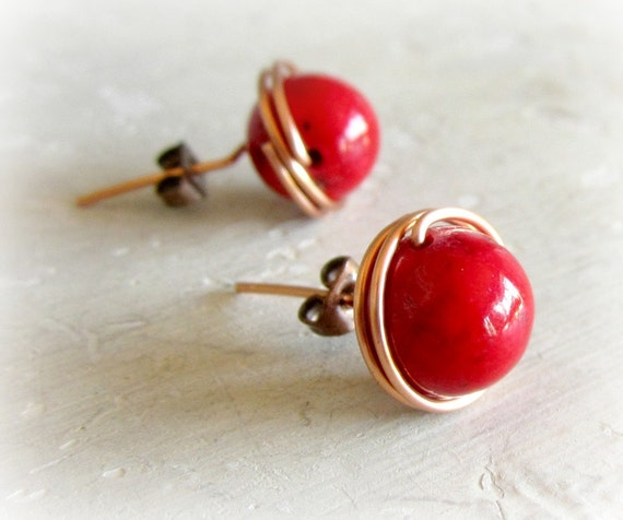 Large Post Earrings - Copper Wire Wrapped Bright Red Coral Studs