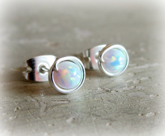 Opal Stud Earrings - Tiny Sterling Wire Wrapped Post - October Birthstone