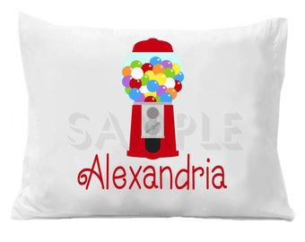 Gumball Machine Pillow Case Personalized Pillowcase Girls or Boys