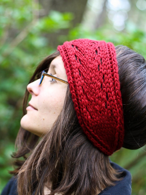 Lacefield Knit Headband with Button- Berry Red - Wool Alpaca