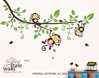 SALE- Large Tree branch with 3 monkey wall decals and 5 birds for jungle theme