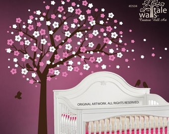 SALE- Large Cherry Blossom Tree wall decal with birds for nursery