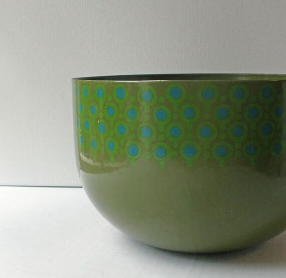 Vintage 60s Mod Green Vefa Enamel Bowl // Large Serving Bowl