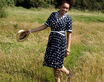 Polly, French Vintage, 1980s Navy Polka Dot Print Midi Dress, from Paris