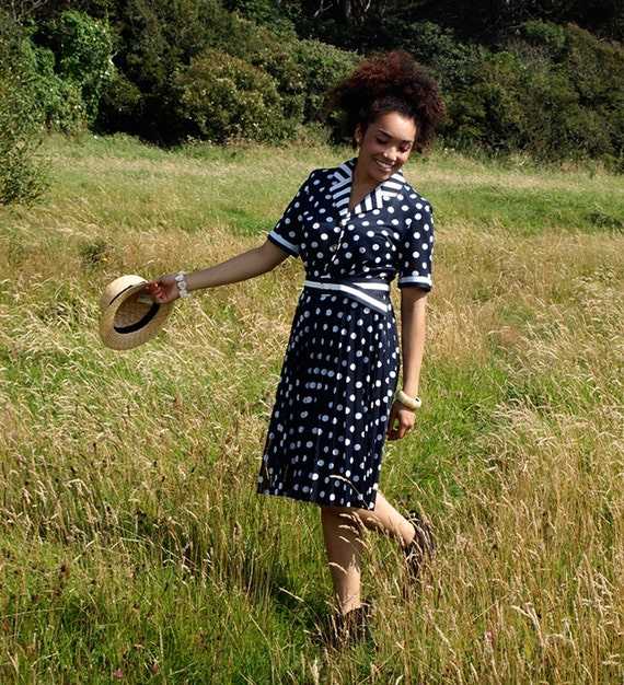 Polly, French Vintage, 1980s Navy Polka Dot Print Midi Dress, from Paris