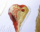 OOAK  Modern painting / Greeting card Red heart - Cuore rosso  Red greeting cards