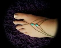 Boho, Slave Barefoot Sandal, Foot Bracelet, Bronze Chain, Bohemian, Turquoise Foot Jewelry, Barefoot Sandles, Tribal, Harem Foot Bracelet