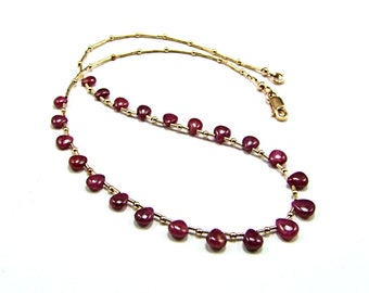 Natural Ruby Smooth Pear Necklace on 14k Gold Fill - N323
