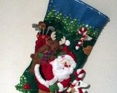 FINISHED Bucilla Stocking-Golfing Santa