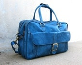 Vintage Baby Blue Large Vegan Friendly Large Travel Duffle Bag