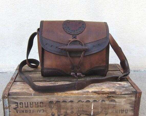 Vintage Chocolate Brown Leather Cross Body Satchel