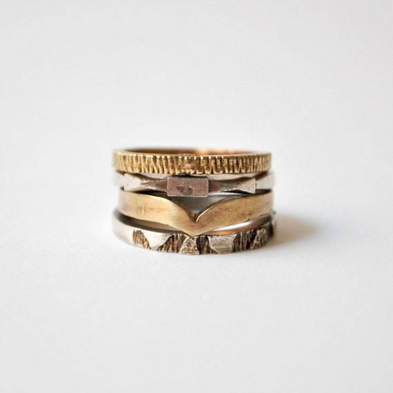 Bronze Stacked Rings Industrial Vintage Textured Set