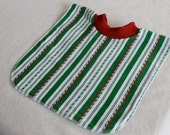 Large Pull Over Bib - Green Candy Cane Stripes