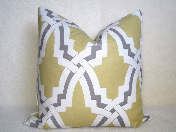 Large Off White Throw Pillows: Grande Trellis Decorative Pillow 20 Inch Gold By WillaSkyeHome
