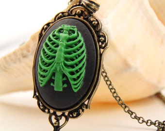 Whimsical Green Rib Cage Necklace