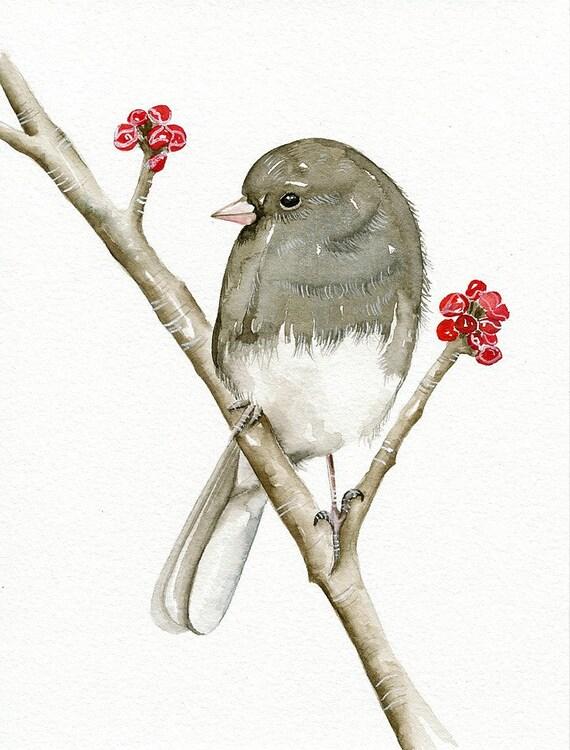 Bird - Original Watercolor Painting Art Bird by Lorisworld