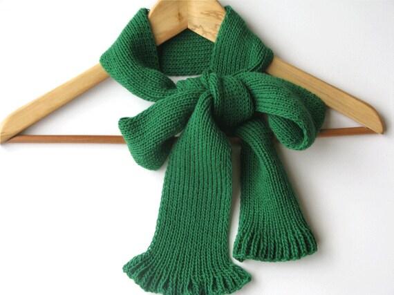 Emerald green, woman fashion bow scarf fall winter