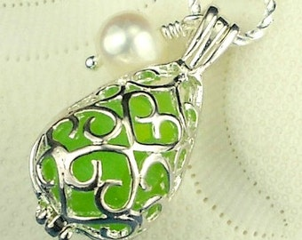 Green Sea Glass Filled Filigree Locket Necklace