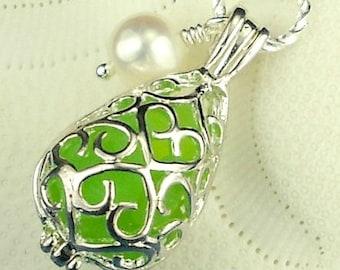 Green Sea Glass Filled Filigree Locket Necklace