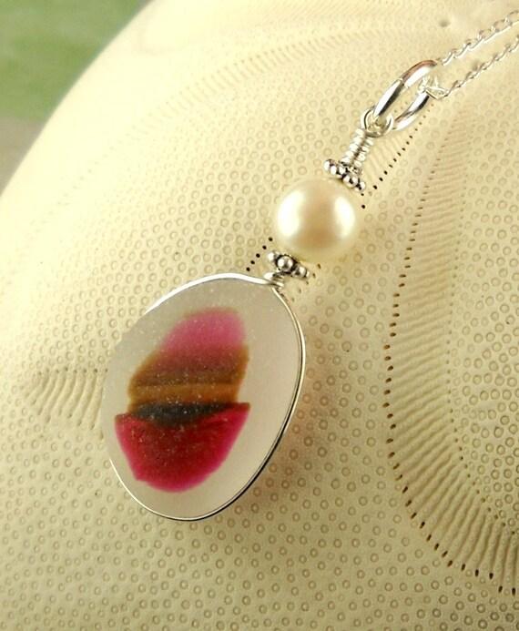 GENUINE English Sea Glass Necklace Pretty In Pink