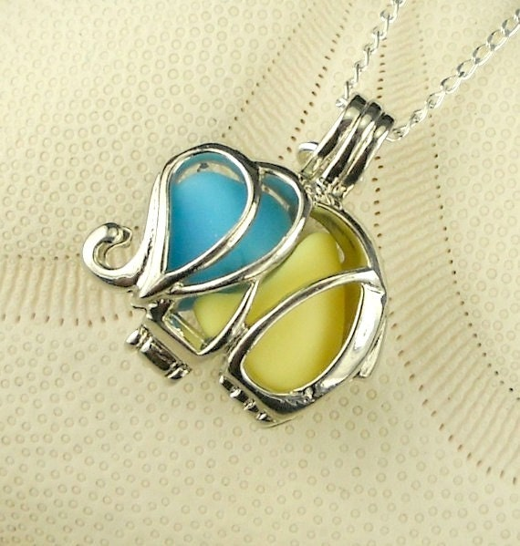 GENUINE Sea Glass Necklace Elephant Locket  Blue And Yellow Milk Glass