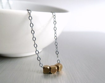 Little Cube Necklace - oxidized .925 sterling silver delicate chain & 3 tiny chunky solid brass bead squares - Simple Geometric Minimalist