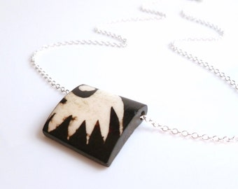 Black White Necklace - boho tribal wing pattern brown / ivory bone square pendant slider on simple silver plated chain - abstract feather