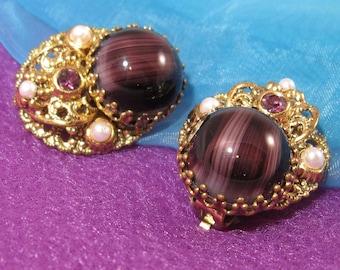 Vintage Purple Earrings, Striped Glass Rhinestones, Signed West Germany