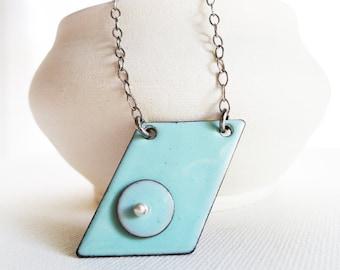 Enamel Pendant Necklace - Robin Egg Blue, Copper Enamel,  Geometric, Fine Enamel Jewelry