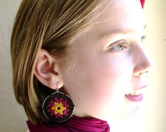 Big hoop earrings - Boho Chic Granny Hexagon Crochet Earrings - Retro Fashion colorful earrings - colorful earrings - Festival jewelry