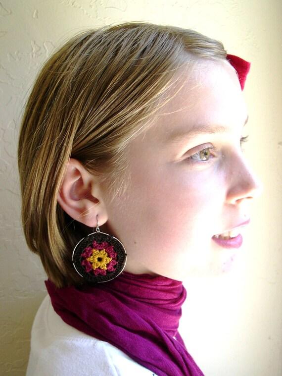 Boho Chic Granny Hexagon Crochet Earrings - Mocca Brown - Dark Pink - Mustard Yellow - Retro Fashion colorful earrings - Girlfriend present