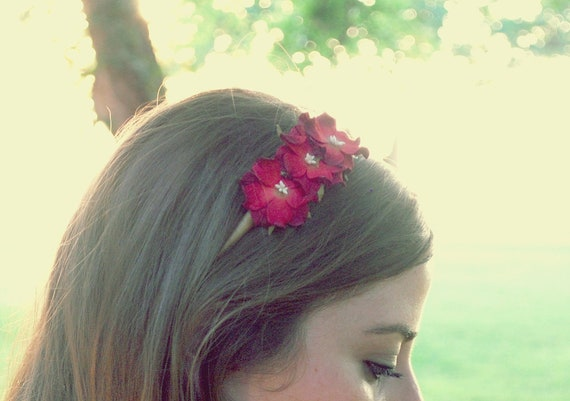 clearance crimson and cream flower headband for women, teen, and girl