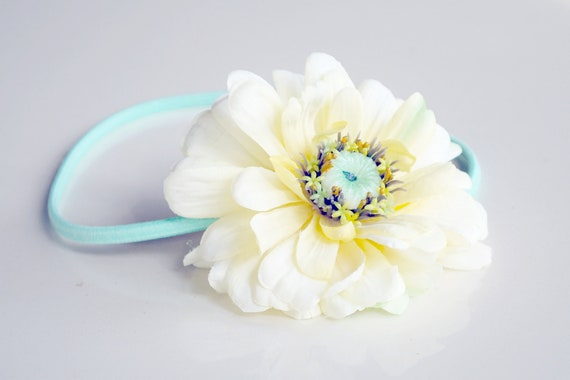 mint green and light buttercream flower headband stretchy for women, teen, girl: jane