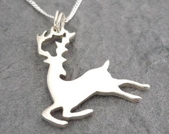 Leaping Reindeer Handmade Sterling Pendant