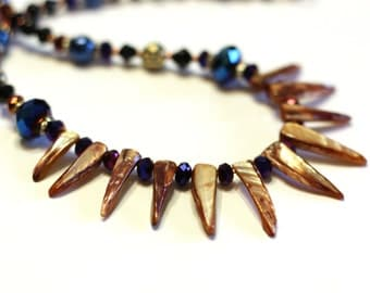 Blue, Purple, Black Tribal Style Necklace with polished shell spikes - Beautiful Statement Necklace