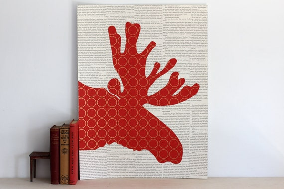 Reserve Listing for Phuong: Poster Size Red Moose Collage, Vertical Orientation, Over Vintage Book Pages