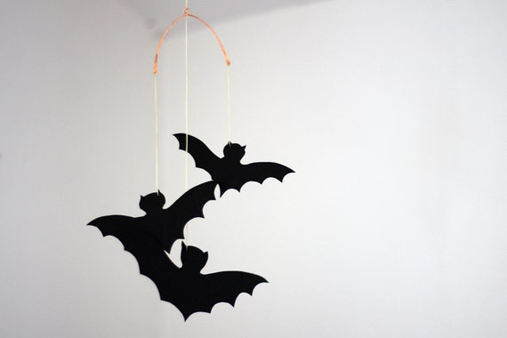 Bat Mobile, One of a Kind Paper Mobile Hanging From Hammered Copper Wire, Three Flying Bats Mobile