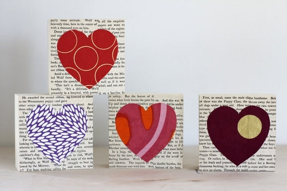 Reserve Listing for Megan, 4 Custom 4x4 Heart Collages in 4 Different Papers Over a Vintage Book Page Background