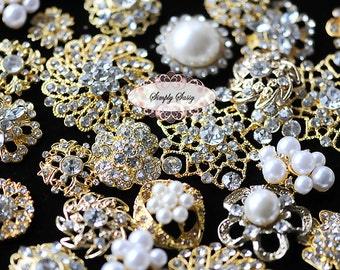 10pcs Gold Clear Assorted Rhinestone Flatback Embellishment Buttons Wedding Bridal Brooches Crystal