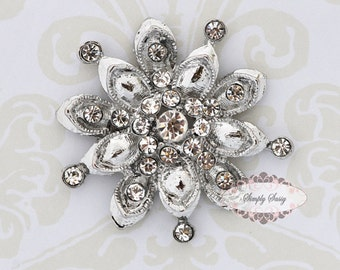 3 pcs RD160 Rhinestone Metal Flatback Embellishment Button Brooch Bridal accessories invitations crystal bouquet flowers hair clip comb