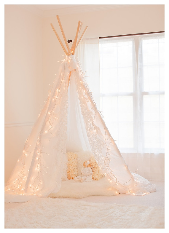 gorgeous lace edge photography teepee tent photo prop. Black Bedroom Furniture Sets. Home Design Ideas