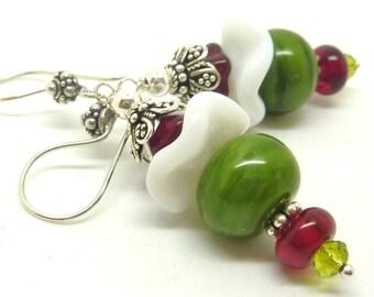 Lampwork Earrings FLORAL HEART