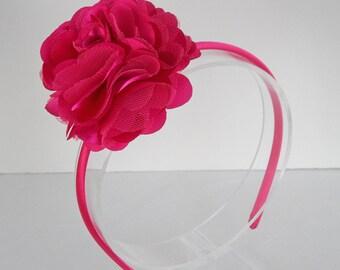 Hot Pink Flower Headband for Girls, Hot Pink Headband, Hot Pink Hair Band, Toddler Flower Headband, Back to School Headbands, 02
