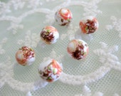 6 pieces 10mm round fall colors ceramic porcelain beads