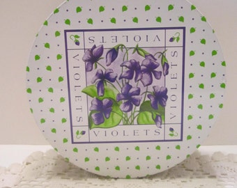 Violets Vintage Tin - Purple Green Cream Design - Candy Cookie Tin - Storage Container - Storage Canister - Decorative Tin