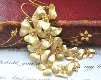 Orchid Earrings Flower Cascade 14k Gold plate dangle Bridesmaids Gifts Bridesmaids Earrings