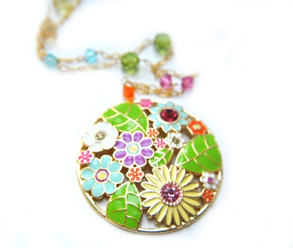 Colorful Necklace  pink green blue purple yellow in 14k gold plate
