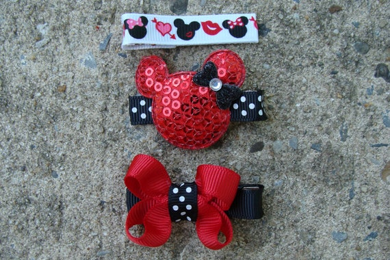 Minnie Mouse Hair Clip Mickey Mouse Hair Clip Collection Set Red and Black Pink and Black